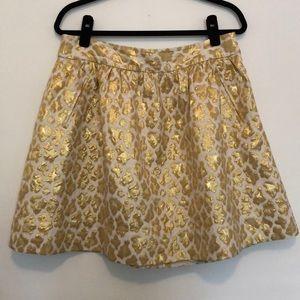 Banana Republic Gold Leopard Skirt